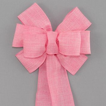 Pink Rustic Linen Wreath Bow