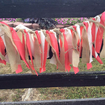 Burlap and coral rag tie garland wedding nursery home decor rustic country shabby