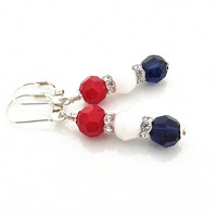 Red White and Blue Earrings, Patriotic, Fourth of July, July 4th, Sterling Silver Leverback, 4th of July, USA Jewelry, America, Navy Blue