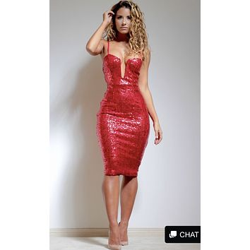 Jessica Sequin Deep Neckline Glam Red Dress