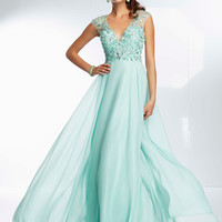 Cap Sleeve Beaded Paparazzi Prom Dress 95062