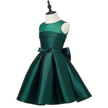 Top Quality Satin Flower Girl Dresses for Wedding Big Bow Party Pageant Dress Birthday Little Girls Ball Gown 2 color 2-12Y