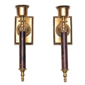 Pre-owned Brass & Lizard Wall Candle Sconces - A Pair