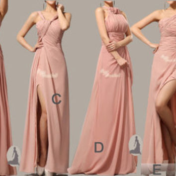 Handmade Custom Size at no extra charge, Floor length bridesmaid set dress /Sleeveless party dress/ bridal dress nude pink dress