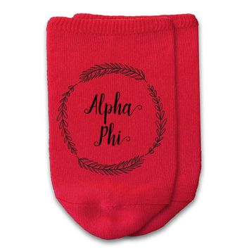 Alpha Phi - Sorority Name with Wreath No-Show Socks