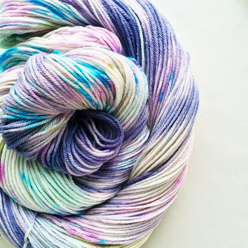 serendipity yarn / hand dyed yarn / superwash merino wool / worsted weight yarn / grape turquoise blue seafoam white / limited edition ooak