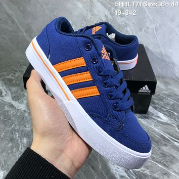 DCCK2 A729 Adidas NEO campus opens mouth to laugh canvas board shoe Blue Orange