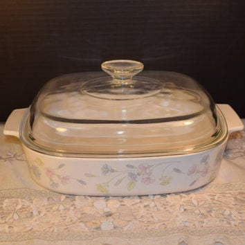 Corning Ware Pastel Bouquet A 10 B Lid & Casserole Dish Vintage Pastel Bouquet Baking Dish 2.5 Liter Covered Casserole Made in USA