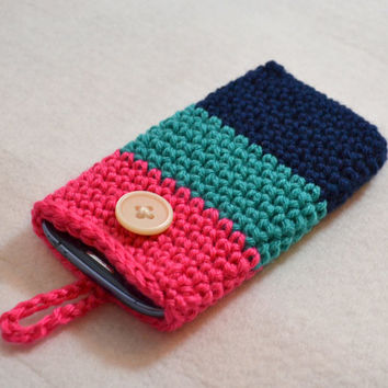 Colorblock Cell Phone Cozy, Pink Blue and Navy Crochet Case, iPhone Case, Smartphone Cozy, Cell Phone Holder