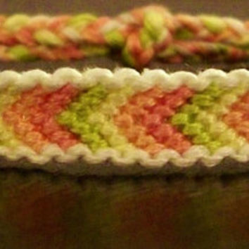 Spring Pink, Peach, Cream and Lime Bordered Chevron Pattern Embroidery Macrame Friendship Bracelet, Spring Bracelet