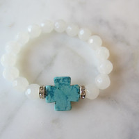 Gemstone Cross Bracelet, Stretch Bracelet, Christian Jewelry, Turquoise Cross, Fashion Cross, Boho Chic Jewelry, White Beaded Bracelet