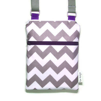Grey Chevron purple sling purse cross body bag adjustable strap