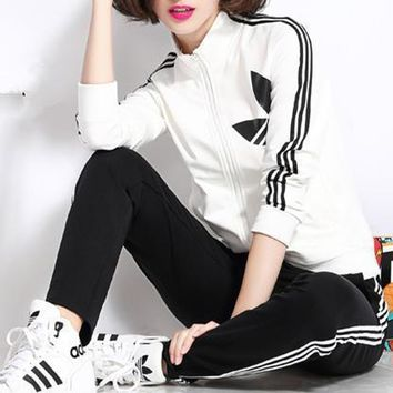 Adidas Fashion Casual Stripe Clover Print Long Sleeve Cardigan Cotton Sweater Set Tw