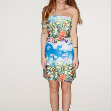 90s DEADSTOCK Club Kid Flower Fields and Clouds Tube Top Mini Dress Large L