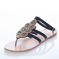 Beaded Leaf Design Sandal - Black from Sandals at Lucky 21 Lucky 21