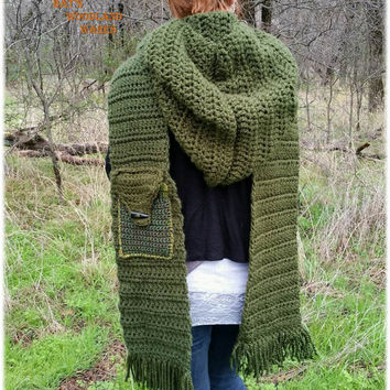 PDF Crochet Pattern - Hooded Scarf