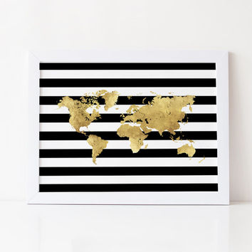 Shop Gold Foil World Maps On Wanelo - Black and gold world map