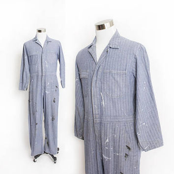 Vintage 1970s Coveralls - Zip Up Jumpsuit One-Piece Workwear - Large