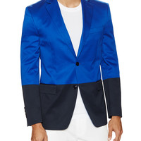 Contrast Notched Lapel Blazer