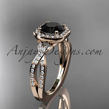 14kt rose gold wedding ring, engagement ring  with a Black Diamond center stone ADER393