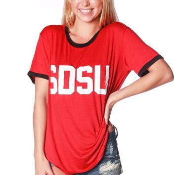 Official NCAA San Diego State University Aztecs SDSU Aztec Warrior  Relaxed Ringer Tee
