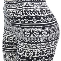 Leggings in Classic Black & White Beautiful Tribal pattern print in Trend now