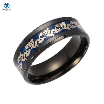 MINGXUAN Vintage China Dragon 316L stainless steel Ring Mens Jewelry for Men lord Wedding Band male ring for lovers