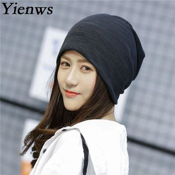 Yienws Bonnet Femme Women Skullies And Beanies Hat Female Spring Summer Solid Headgear For Women Slouch Cap 2 Uses Hats YH398
