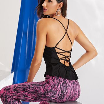Lace Up Backless Satin Cami Top