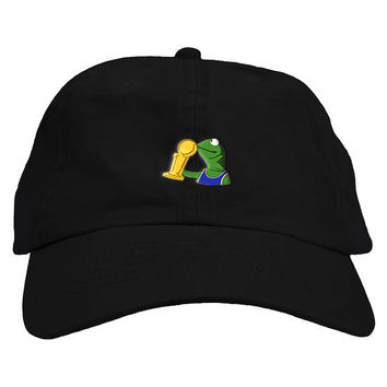 Finals Trophy Sipping Kermit Golden State Warriors Trophy Dad Hat