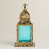 Small Teal Kamali Tabletop Lantern | World Market