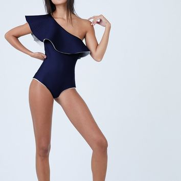 Tucan Reversible Ruffle One Shoulder One Piece Swimsuit - Navy/Ivory