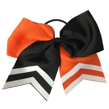 Softball Hair Bow- Orange & Black