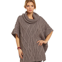 Elan Cable Knit Sweater Poncho | Dillards