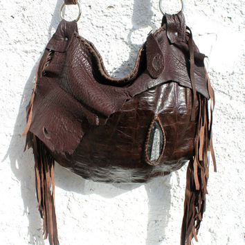 Large tribal brown leather orthoceras stone raw edge purse elvish bohemian fringed fringe woodstock bag tote large asymmetrical handmade