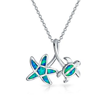 Starfish Turtle Blue Created Opal Pendant Necklace s Sterling Silver