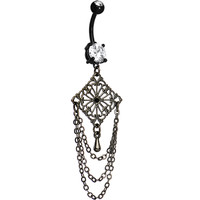Handcrafted Black Clear Double Gem Dark Vintage Chandelier Belly Ring | Body Candy Body Jewelry