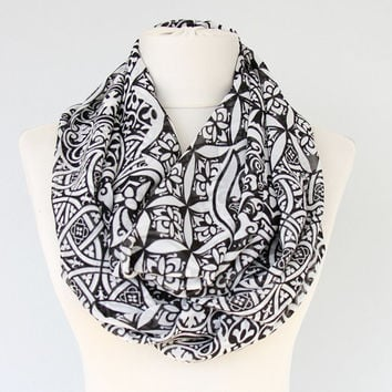 Damask print infinity scarf black white scarf women fashion scarves summer accessories spring circle scarfs gift for her