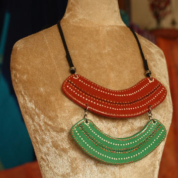 Indian Tribal Art Necklace -#handmade #Tribal #jewelry #red #green #mothersday #gift