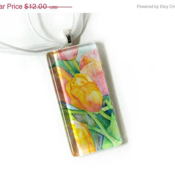SALE Bright Tulips Watercolor Rectangular Glass Tile Pendant Necklace