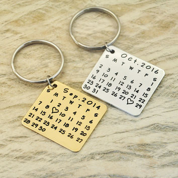 key chain-save special date-heart-highlight keychain anniversary-hand stamp-alloy keychainwedding birthday square shape