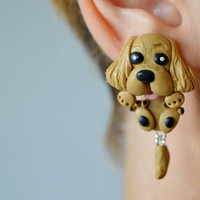 Cocker Spaniel earrings,dog earrings,animal ear jackets,pet front back earrings,double sided earrings,two part earrings,clinging earring