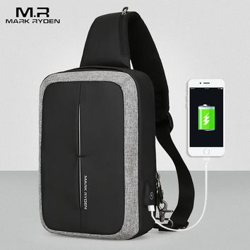 Mark Ryden New Men Crossbody Bag Business Shoulder bag High Capacity Chest Bag USB Recharging Design