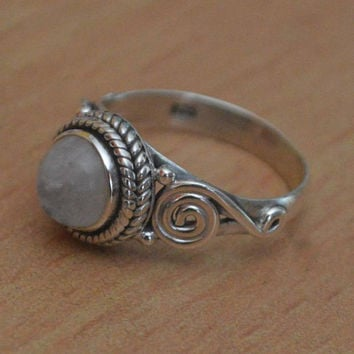 Moonstone Birthstone Ring in Sterling Silver Ring,Sterling Silver,Round Shaped Moonstone Solid Silver Rings Women Ring Size 5 6 7 8 9 10 NEW