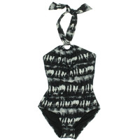 MICHAEL Michael Kors Womens Printed Halter One-Piece Swimsuit