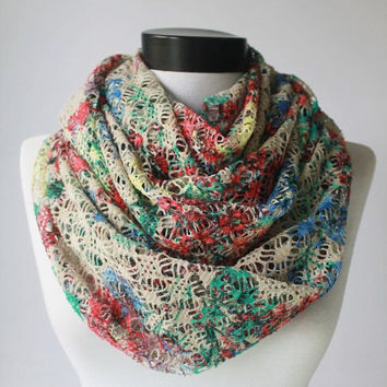 lace scarf,infinity scarf, scarf, scarves, long scarf, loop scarf, gift