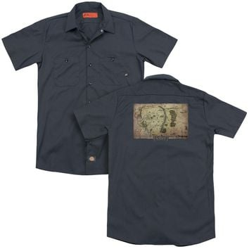The Hobbit - Middle Earth Map (Back Print) Adult Work Shirt