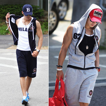 Korean Embroidery Men Sleeveless Slim Hats Hoodies Casual Set Jacket [6528758659]