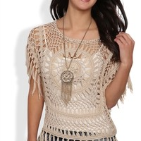 Short Sleeve Crochet Top with Medallion Center and Fringe Hem