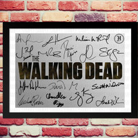 Framed The Walking Dead Full Cast signed print. Gift with printed autograph. Poster Photo Artwork TV Show Series Season DVD